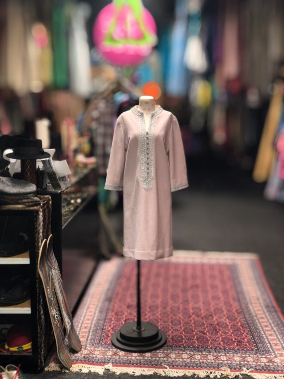 60s pink & silver bell sleeve shift dress by Nard… - image 1