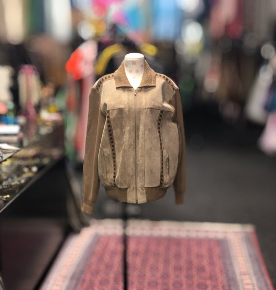 70s brown suede paneled knit jacket