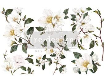White Magnolia- 3 sheets - 6″X12″mini- transfer by Redesign with Prima! New!