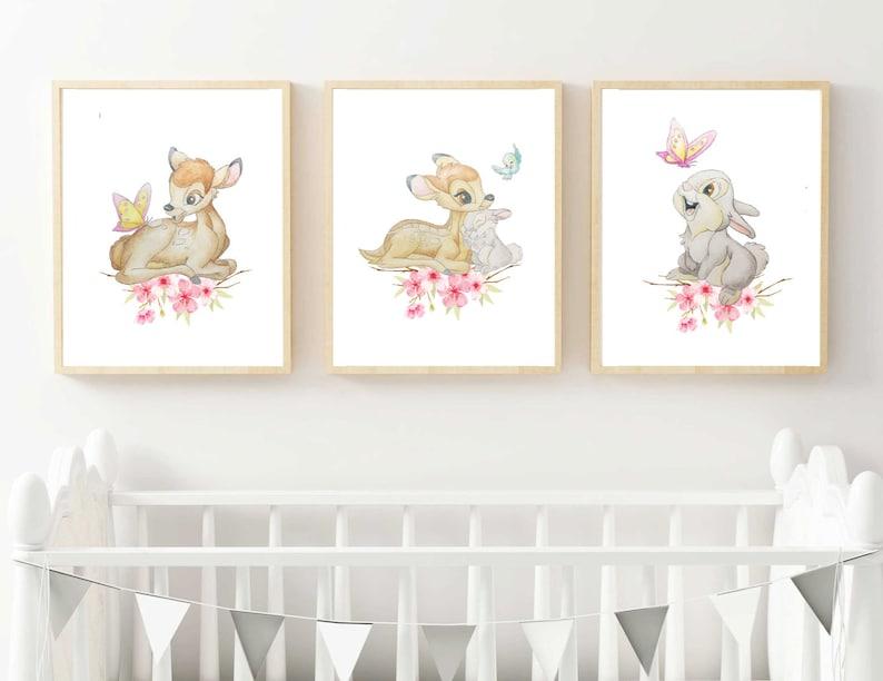 Disney Bambi and Thumper Print Disney Nursery Print Disney image 0