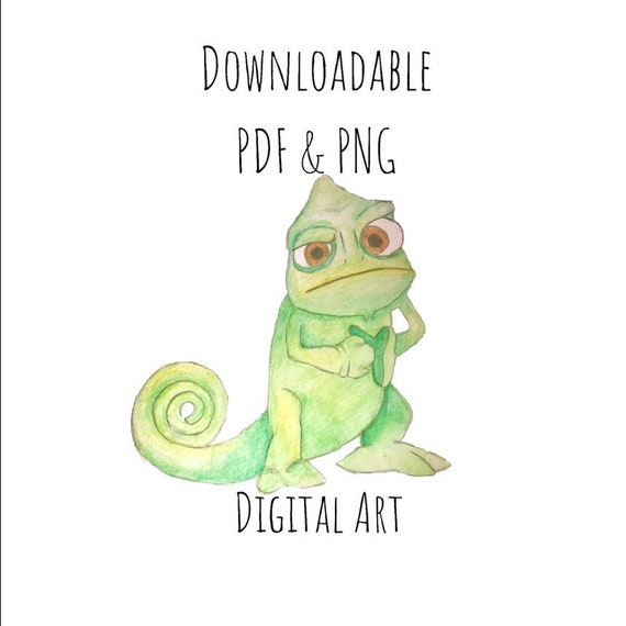 Disney Clipart Watercolour Pascal Tangled Digital Downloadable Etsy