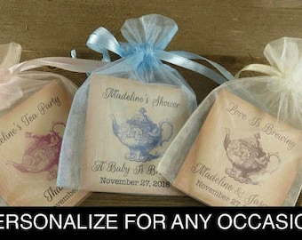 Fully Assembled Set of 10 Thank You Tea Favors Tea Party Favor Bags With Tea