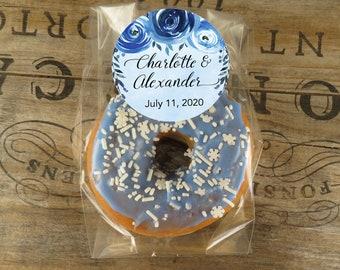 Blue Wedding Favors Shower Favors Donut Favors Personalized Cellophane Favor Bags With Indigo Floral Labels Food Favors DB IG