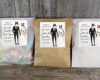 Party  VB Paper Favor Bags With Personalized Watercolor Fox Labels Wedding Favor WCA Kraft Glassine Or White Favor Bags Shower