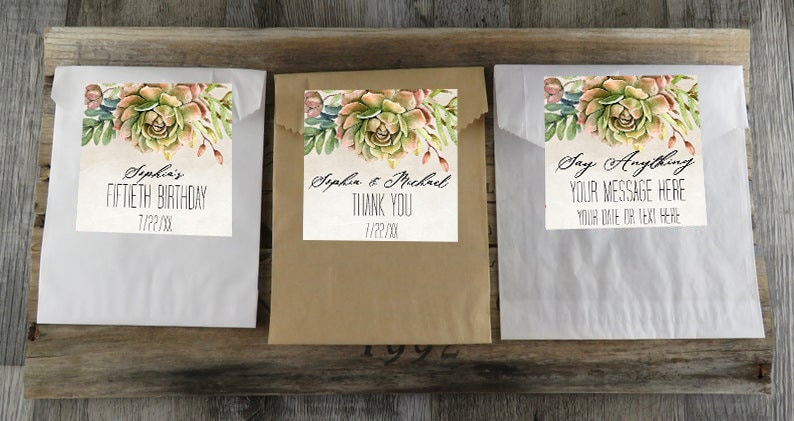 Shower Party  VB Succulent Wedding Favor Paper Favor Bags With Personalized Cactus Labels Kraft Glassine Or White Favor Bags CTS