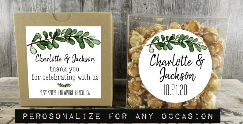 Shower Favor Cupcake Box Custom Favors Party Favor Personalized Favor Box Botanical Greenery Wedding Favor Box SG BX