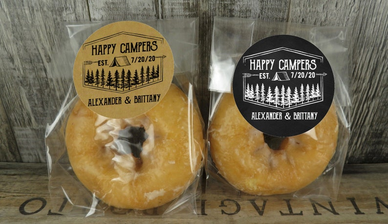 Personalized Cellophane Favor Bags With Happy Camper Labels Wedding Favors Donut Favors DB HC Adventure Awaits Shower Favors