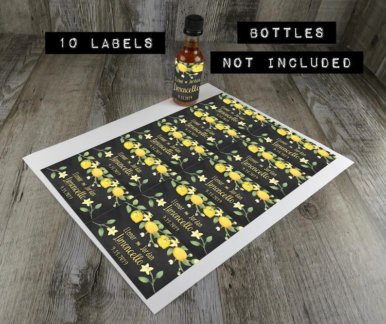 Party Favor CLC Personalized Mini Liquor Labels Waterproof Custom Favor Labels Birthday Party Limoncello Liquor Mini Favors MLL