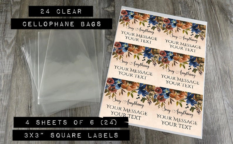 AF CB Cookie  Favor Bags Cellophane Cookie Bags With Autumn Floral Labels 24 Custom Fall Favor Bags Personalized Cookie Bags