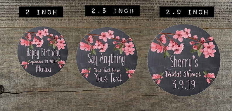 Party Shower Favor Wedding Favor Stickers Labels Personalized Stickers Personalized Chalkboard Cherry Blossom Labels RLO CHB