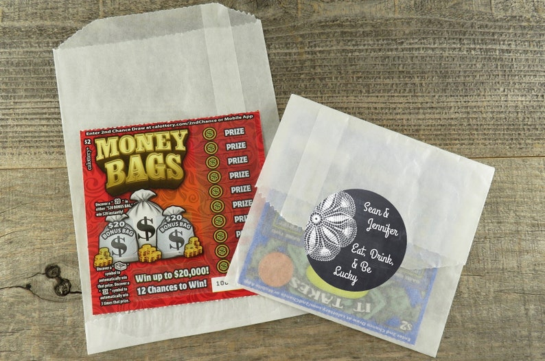 Glassine Bags /& Chalk and Lace Personalized Labels For Lottery Ticket Favors LF CBD Lotto Favor packaging DIY Lottery Ticket Favors