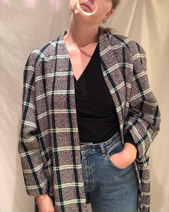Vintage oversized plaid green blazer jacket