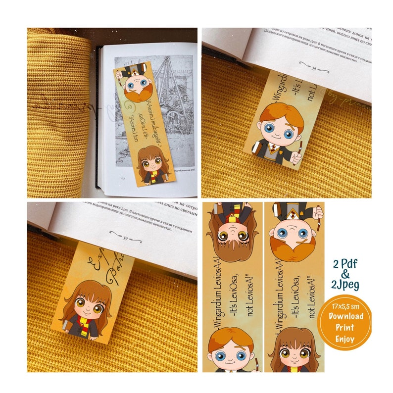 photo about Harry Potter Printable Bookmark named Printable Bookmark Harry Potter, kid Hermione Ron Weasley, leviosa bookmark down load, back again towards higher education