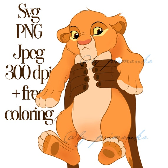 The Lion King Simba Svg Png Digital Clipart Free Coloring Etsy