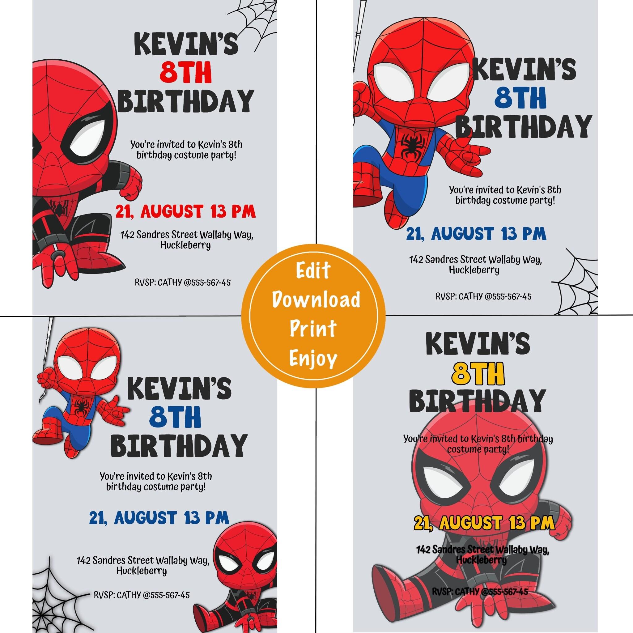 Spider man 4 invitations template far from home printable birthday pdf jpeg