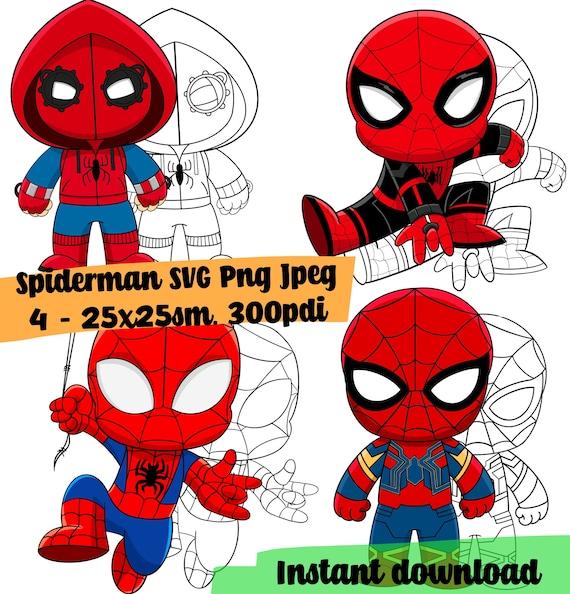 Svg Set Spiderman Cricut Free Coloring Pages Marvel Black Etsy