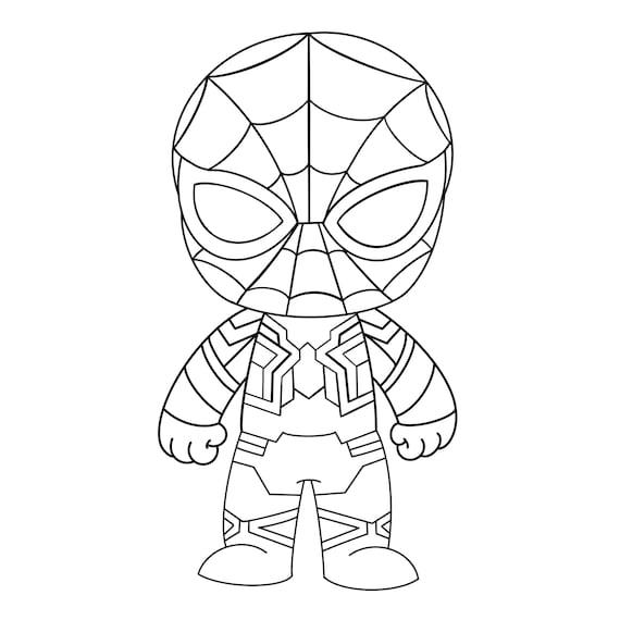 Svg Chibi Iron Spiderman Svg Da Colorare Gratis Marvel Svg Etsy