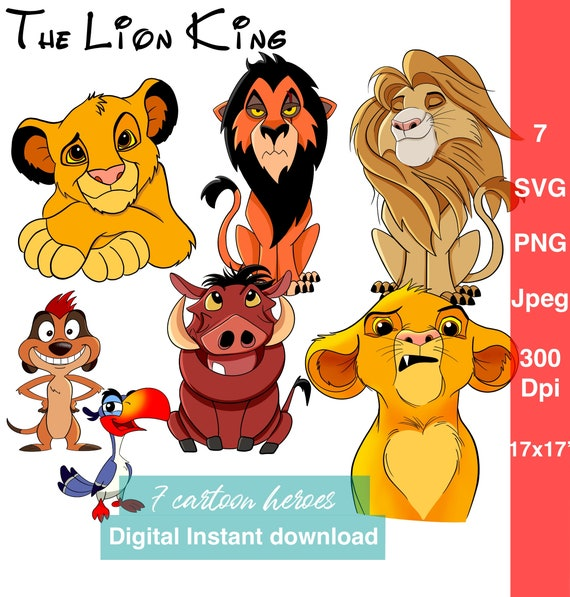 Layered Svg Set Lion King Svg Simba Clipart Baby Lion Timon Etsy