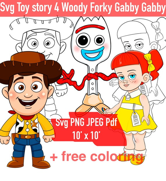 Forky Svg Woody Gabby Gabby Toy Story 4 Clipart Cartoon Heroes Etsy
