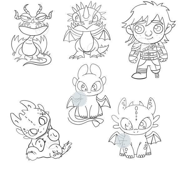 6 Baby Dragons Clipart Png Toothless Night Fury Stormfly Etsy