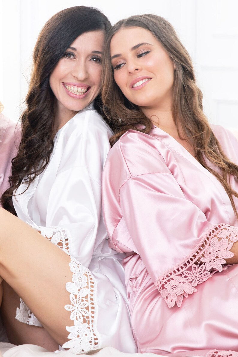 ecfee23b7347 Calliope Lux White Lace Bridal Robe Bridesmaid Robes   Etsy