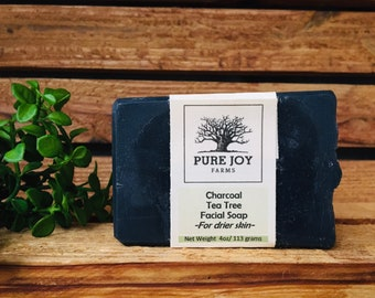 Charcoal Tea Tree Lavender Icelandic Sheepmilk Facial Soap (Dry Skin Formula)