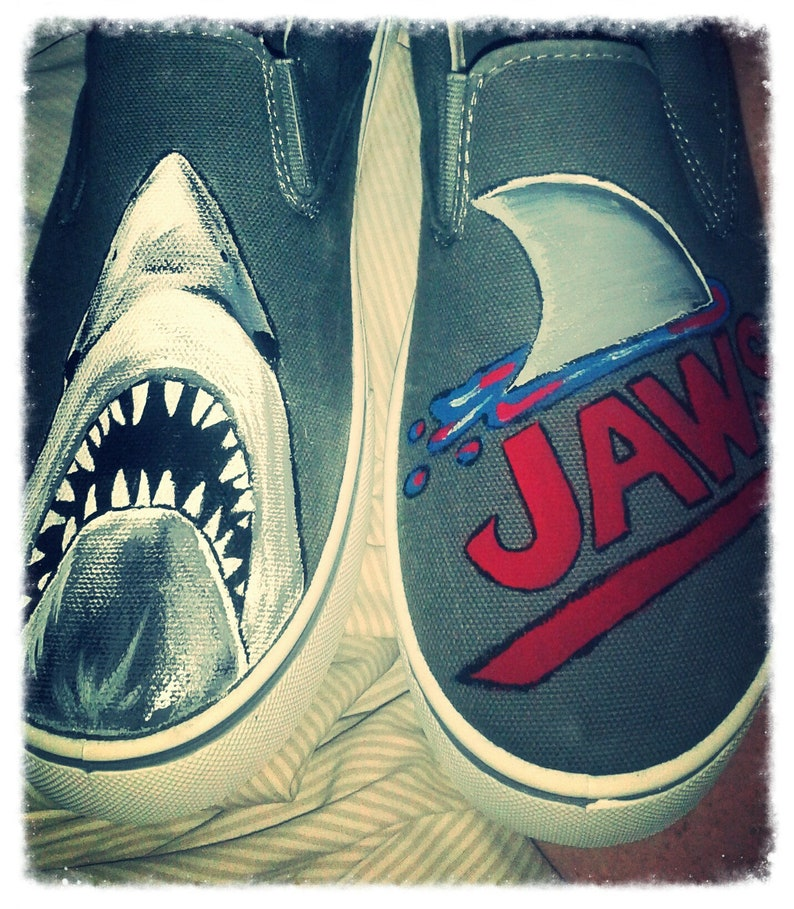 ae51d0a764b6e hand painted jaws shoes made to order