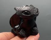 Natural Hand carved Obsidian Dragon How to Train Your Dragon Crystal Dragon Quartz Crystal Crystal ornament Crystal Healing