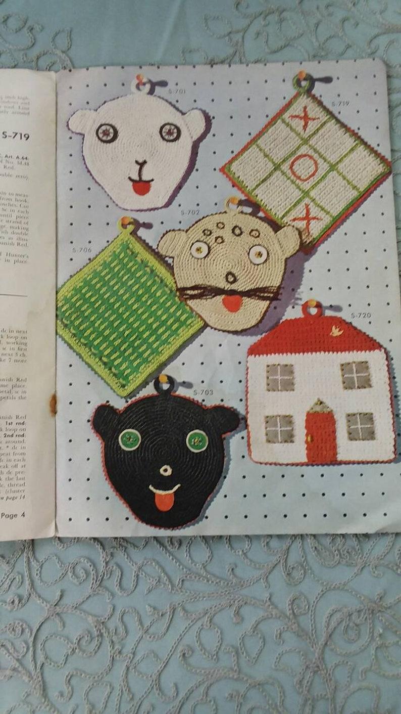 Crochet pot holder children/'s beginners craft pattern magazine tutorial book Vintage 1950s 1960s