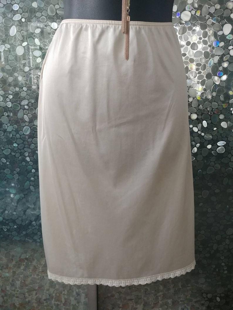 1980s satin tricot Vintage Sears half slip Size Largebeige nude cream white