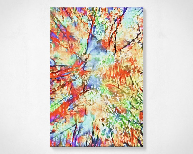 Tree Canopy Abstract Painting // Rainbow Canvas Painting // image 0