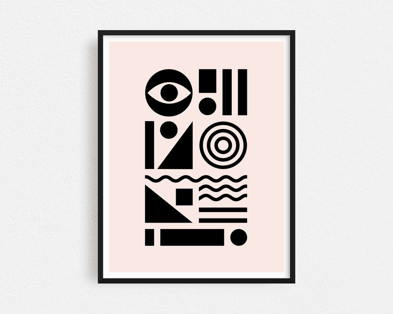 Minimalist Geometric Print Black and Pink Boho Decor image 1