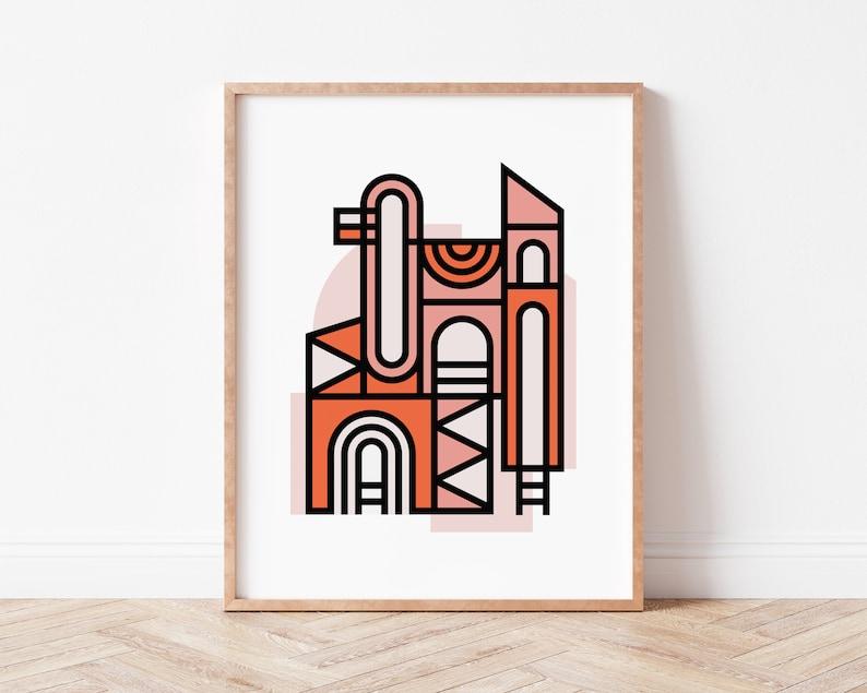 Minimalist House Print Orange Print Coral Poster Abstract image 1