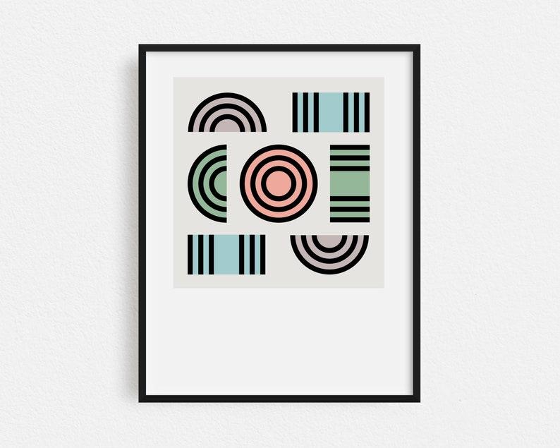 Minimalist Shapes Print Boho Decor Abstract Art Retro image 1