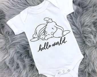 d2c7ec96d Dumbo Baby Onesie® // Disney Baby Onesie // Baby Bodysuits // Hello World Baby  Onesie® // Dumbo Bodysuit // Baby Clothes // Newborn Clothing