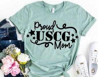 USCG Military Army Tags USA Flag Proud Coast Guard Mom Hoodie Gift for Mom