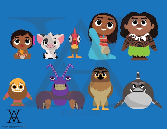 Moana Characters Clipart Vector Instant Download Etsy