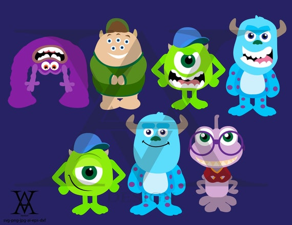 Monsters Inc University Characters Clipart Vector Instant Etsy