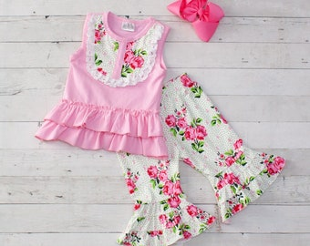 a5c3bfb0dca Baby Girls Spring Boutique Pink Blossoms 2 Piece Outfit - Top   Capris   30505
