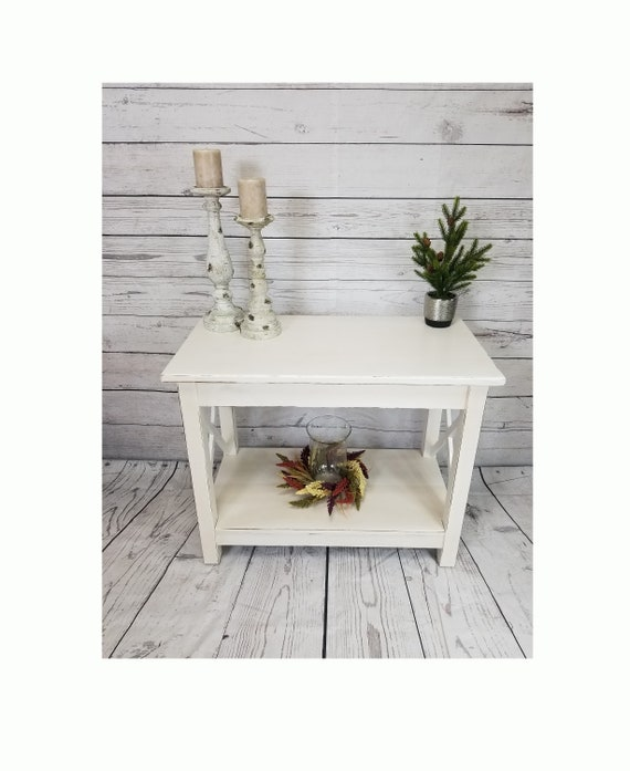 Chic Antique White Hall Table White Farmhouse Entry Table Etsy