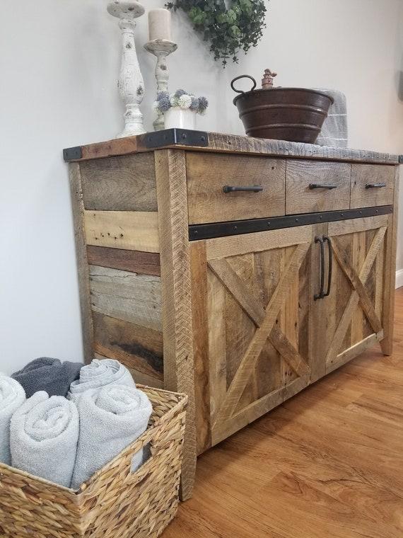 Farmhouse Bathroom Sink Reclaimed Wood Vanity Rustic Etsy