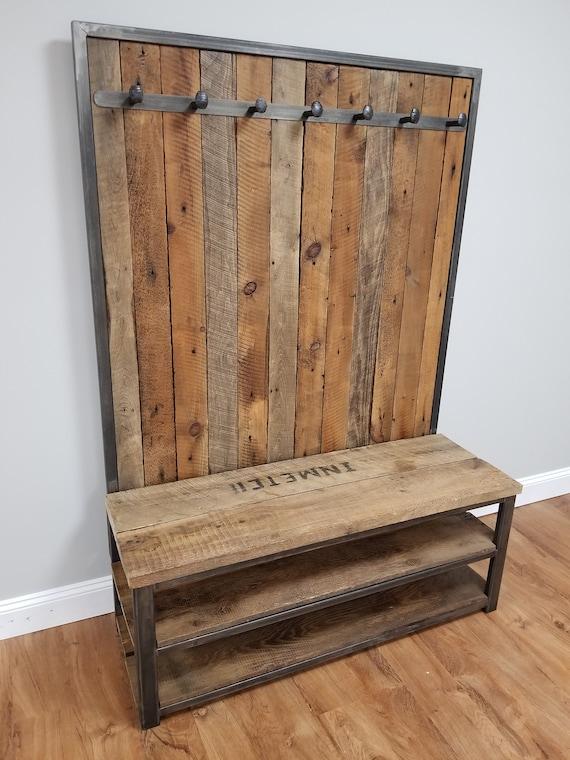 48 Reclaimed hall tree/coat rack/shoe bench | Etsy