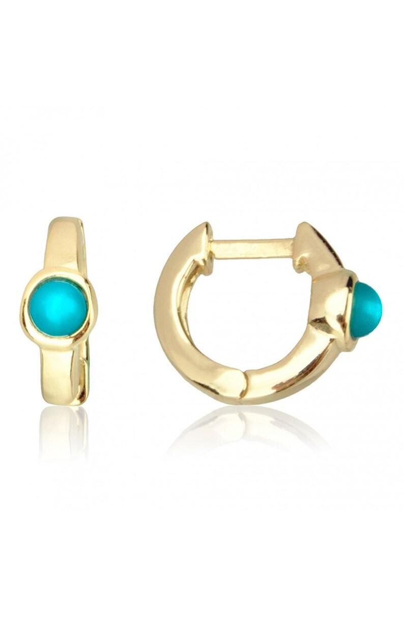 Turquoise hoop earrings huggie gold earrings,,silver turquoise earrings,huggie turquoise earrings