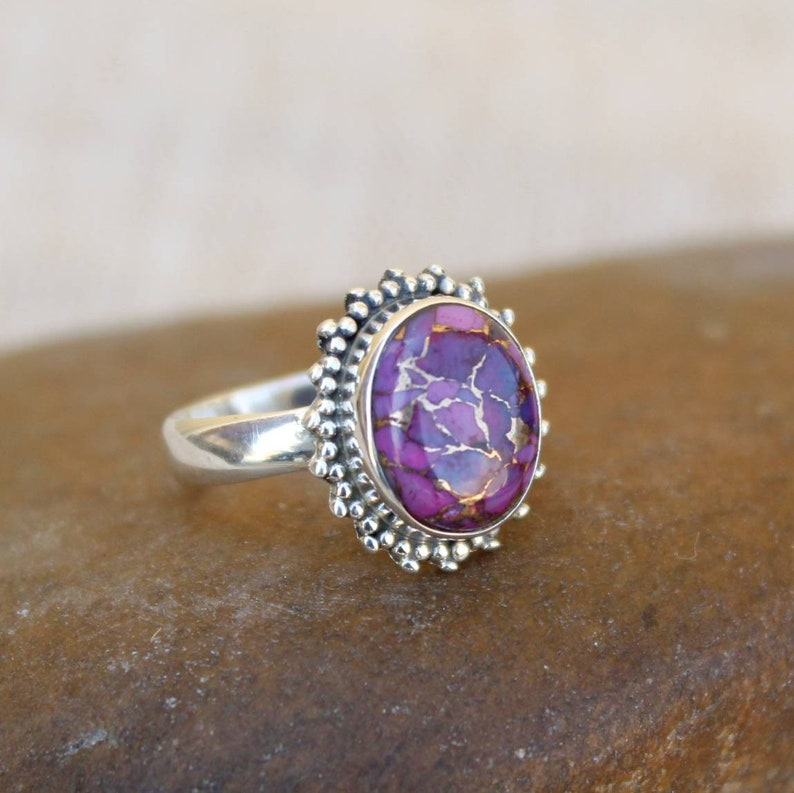 Natural Stone Designer Ring Turquoise Ring Oval Ring Vintage Ring Sterling Silver Ring Purple Mohave Turquoise Ring Beautiful Ring