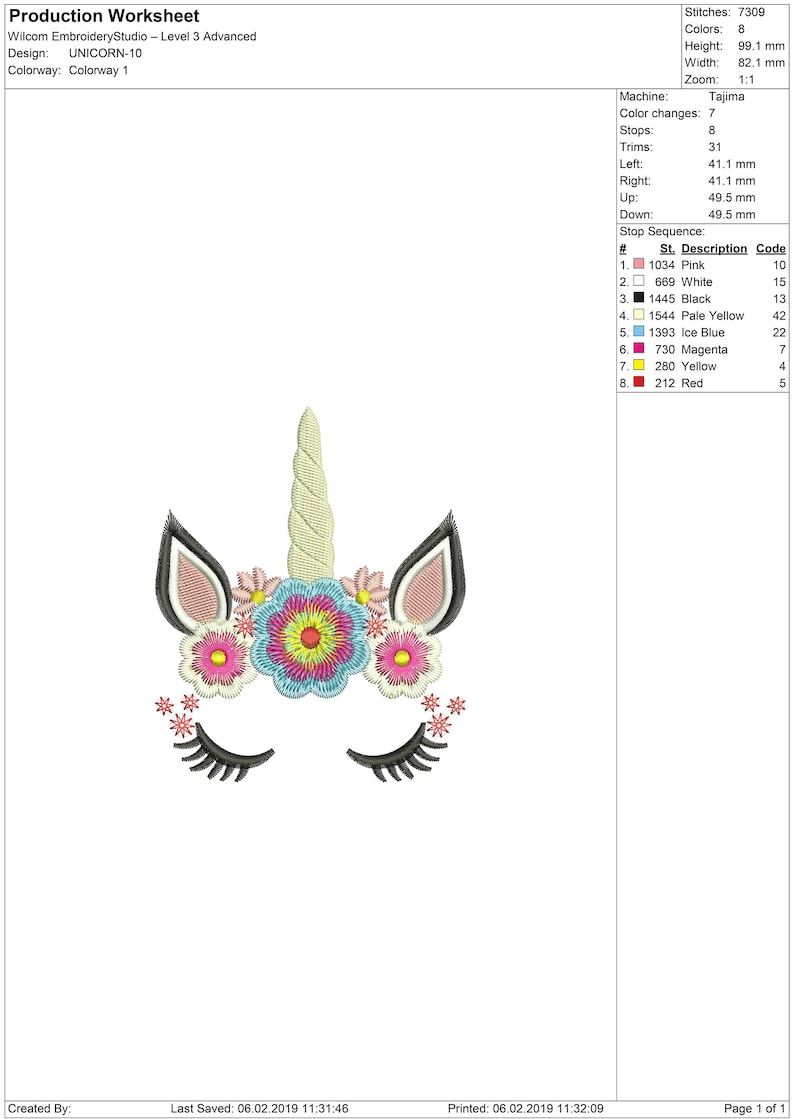 Unicorn, flowers, embroidery design: machine embroidery design