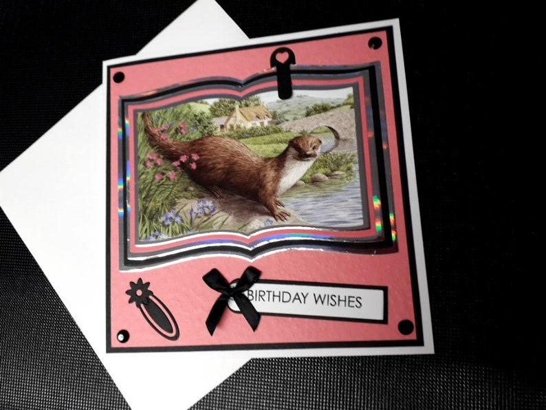 Handmade Birthday Card featuring a graceful otter