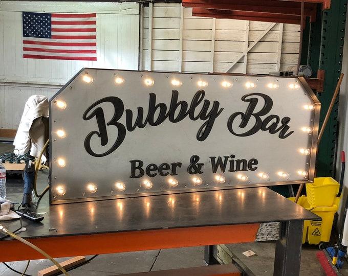 Light Up Metal Sign, Vintage Marquis Metal Bar Sign, Old Sign, Theatre Sign, Light Up Sign, Wine Bar, Bar Sign, Man Cave, Garage Art