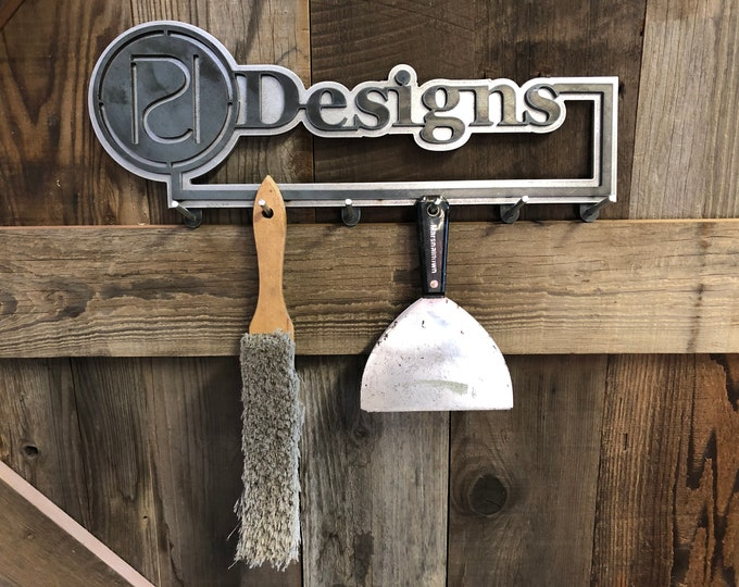 Personalized Metal Shop, coat, equipment or broom rack