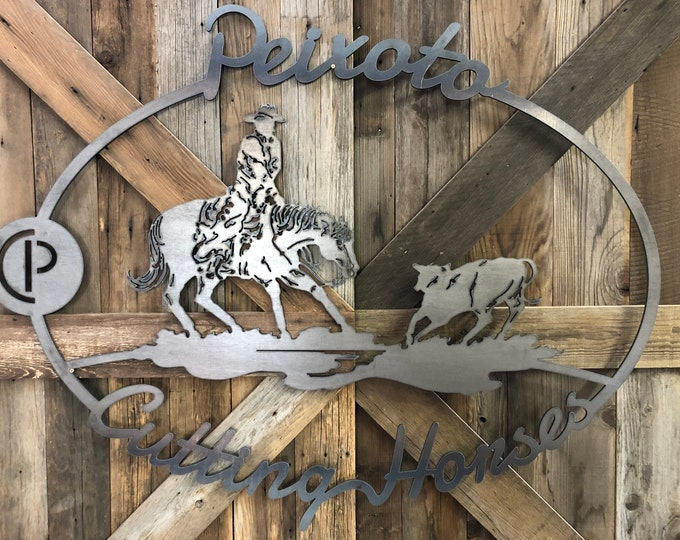 above bed decor, Custom Cutting Horse Sign, show cattle, coat rack, CNC furnature