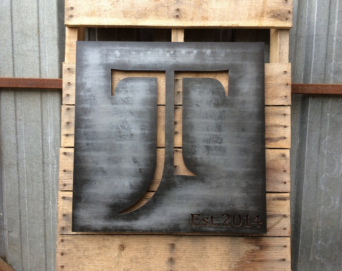 Family Monogram, Above bed decor, Plasma Cut Metal Art, Metal Script or Saying Sign, Aniversary gift